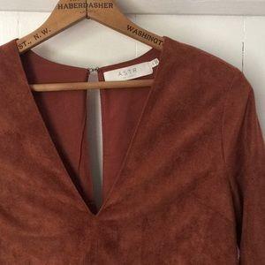 • ASTR the label rust copper faux suede dress • XS